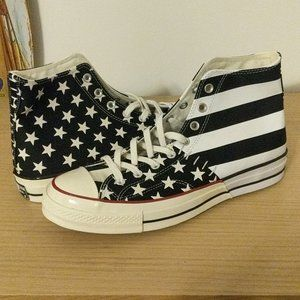 Black and white American converse chuck hi High